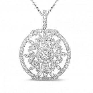 Gargantillas en Oro Blanco - 0.90 quilates colgante diamante en oro blanco