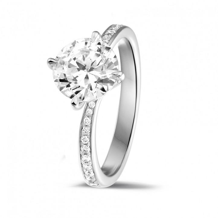 109b086aae9d1 2.00 quilates anillo solitario diamante en oro blanco con diamantes en los  lados