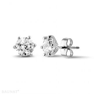 Pendientes - 2.00 quilates pendientes diamantes clásicos en platino con seis garras