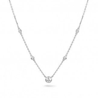 Gargantillas en Platino - 0.45 quilates colgante diamante satélite en platino