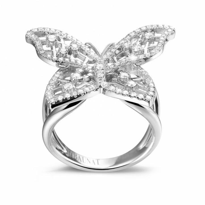 0.75 quilates anillo mariposa diseño diamante en platino