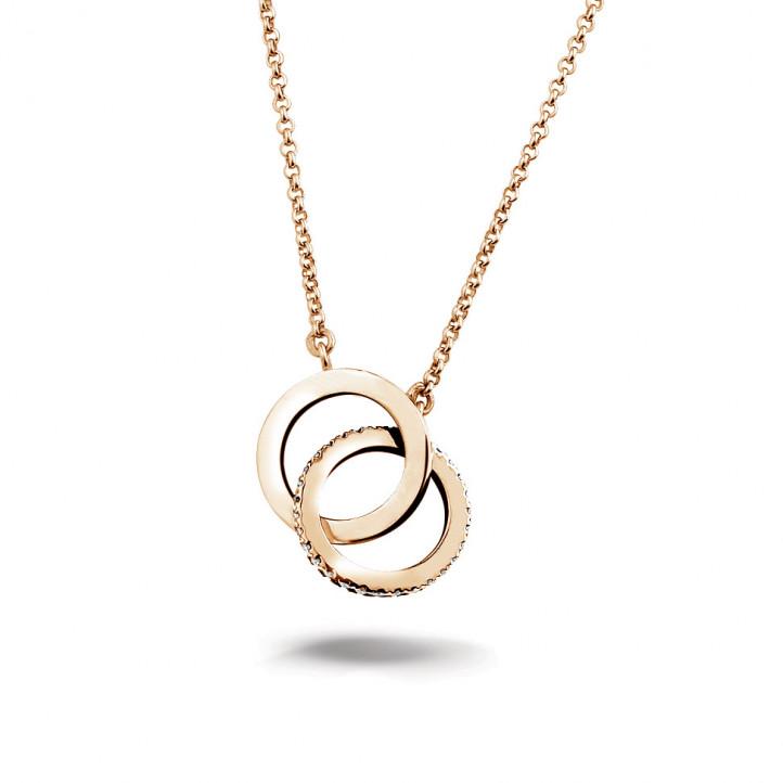 0.20 quilates gargantilla infinito diamante diseño en oro rojo