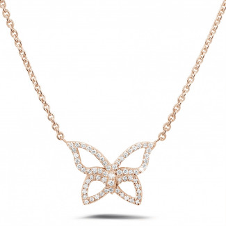 0.30 quilates collar mariposa diamante diseño en oro rosa