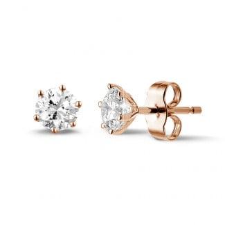 1.00 quilates pendientes diamantes clásicos en oro rojo con seis garras