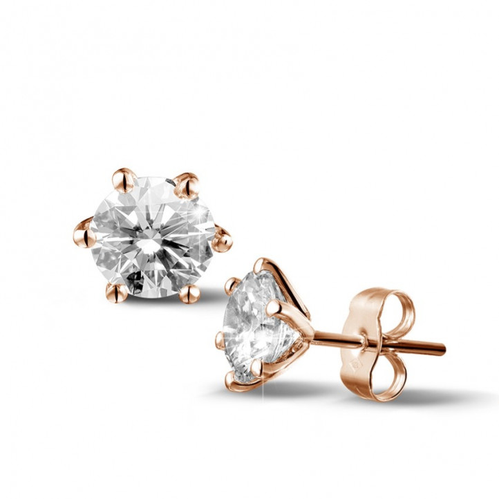 2.50 quilates pendientes diamantes clásicos en oro rojo con seis garras