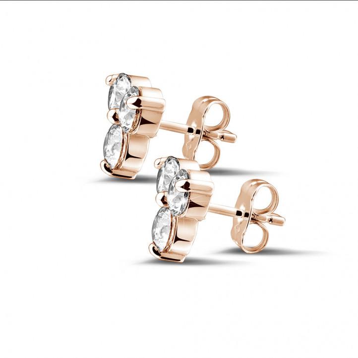 2.00 quilates pendientes diamantes trilogía en oro rojo
