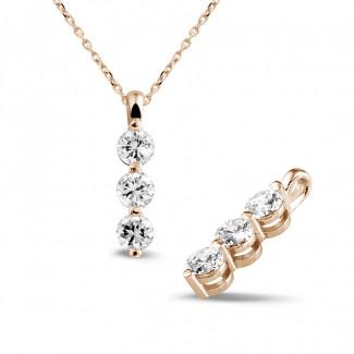 Gargantilla - 1.00 quilates trilogía colgante diamante en oro rojo