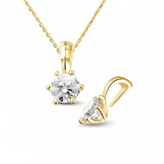 0.75 quilates colgante solitario en oro amarillo con diamante redondo