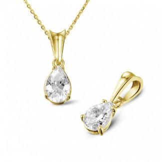 0.75 quilates colgante solitario en oro amarillo con diamante en forma de pera