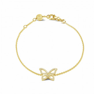 0.30 quilates pulsera mariposa diamante diseño en oro amarillo