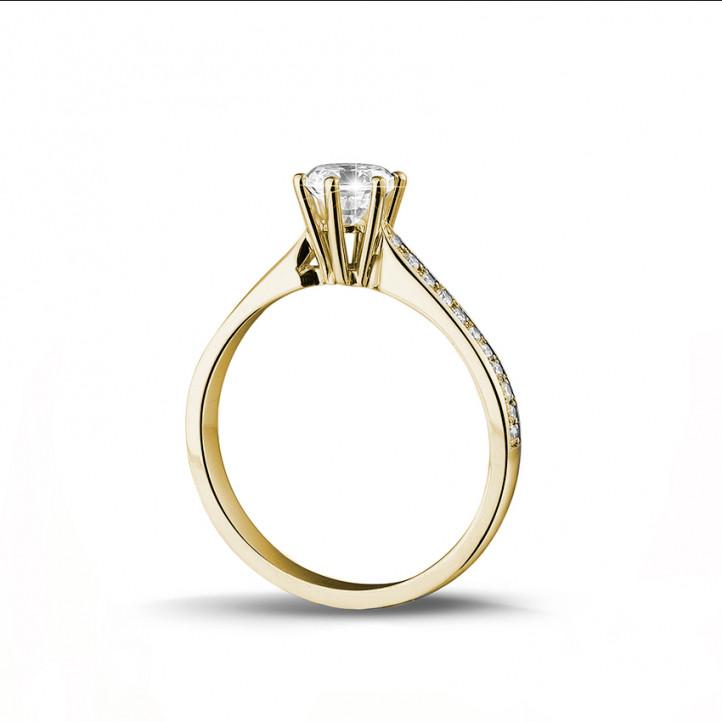 8b3839f60127 0.50 quilates anillo de oro amarillo de diamantes con diamantes en los lados
