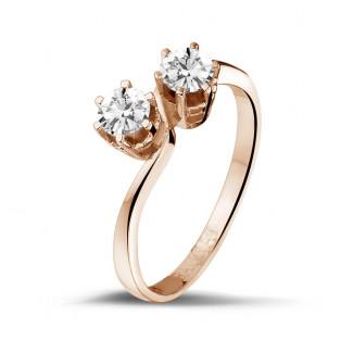 0.50 quilates anillo diamante Toi et Moi en oro rojo