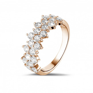 Anillos de Diamantes en Oro Rosa - 1.20 quilates alianza en oro rosa con diamantes redondos