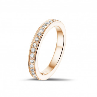 alianza de diamantes 0.25 quilates en oro rosa (media circunferencia)