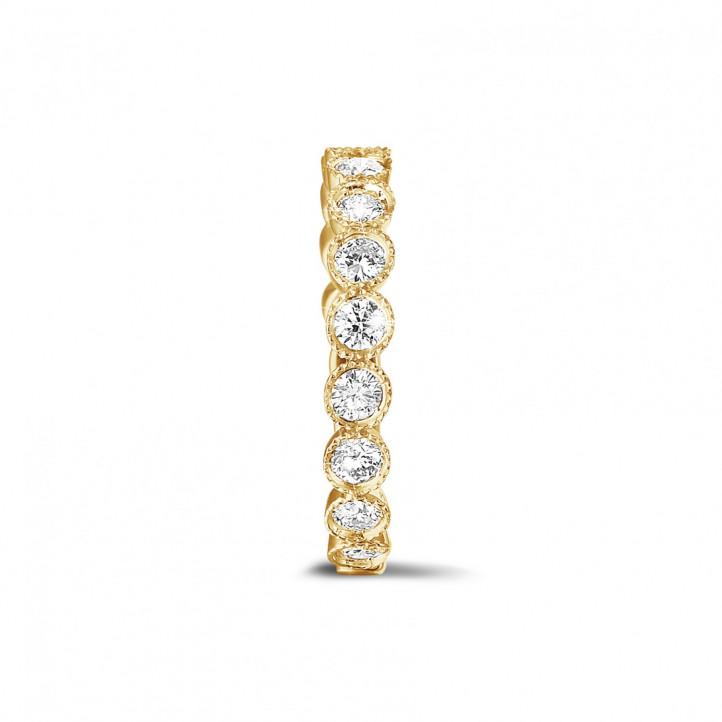 0.70 quilates alianza de combinación de diamantes en oro amarillo