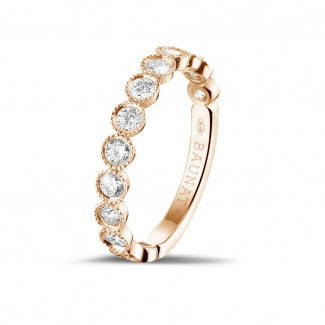 Anillos de Diamantes en Oro Rosa - 0.70 quilates alianza de combinación de diamantes en oro rojo