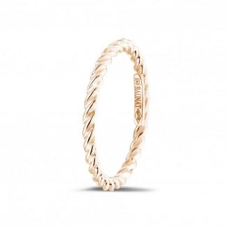 Anillos de Diamantes en Oro Rosa - Anillo trenzado de combinación en oro rojo