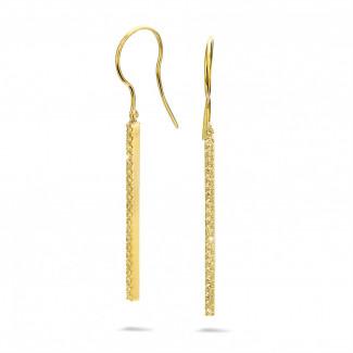 0.35 quilates pendientes de barras en oro amarillo con diamantes amarillos