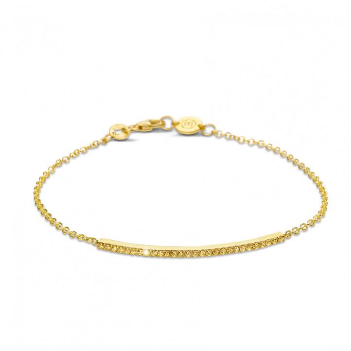 0.25 quilates pulsera fina en oro amarillo con diamantes amarillos