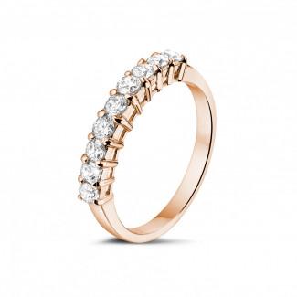 Anillos de Diamantes en Oro Rosa - 0.54 quilates alianza diamante en oro rojo