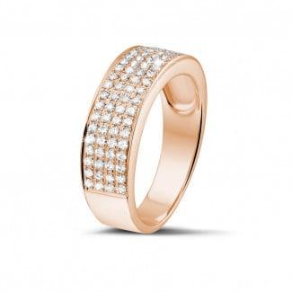 Anillos de Diamantes en Oro Rosa - 0.64 quilates alianza diamante amplia en oro rojo