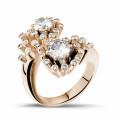 """1.40 quilates anillo diamante """"Toi & Moi"""" diseño en oro rojo"""