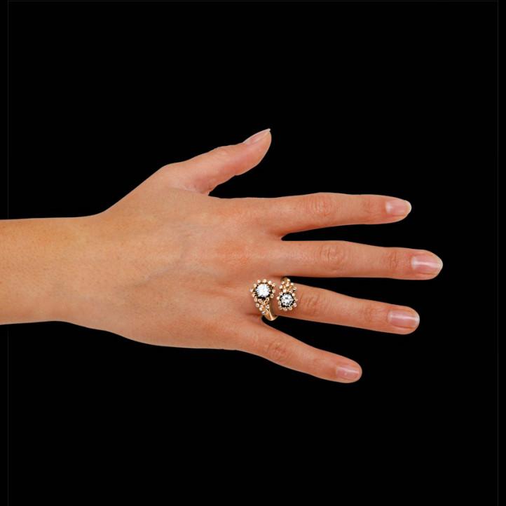 """1.50 quilates anillo diamante """"Toi & Moi"""" diseño en oro rojo"""