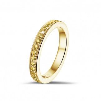 Anillos - 0.25 quilates alianza de diamantes amarillos (media banda) en oro amarillo