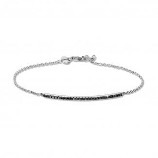 Pulseras - 0.25 quilates pulsera fina en oro blanco con diamantes negros