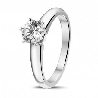 0.75 quilates anillo solitario diamante con 6 uñas en oro blanco