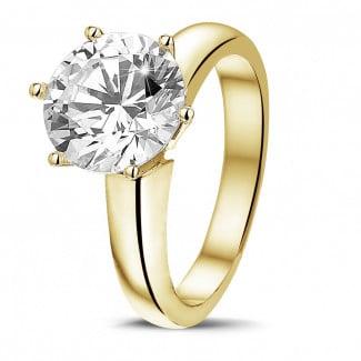 3.00 quilates anillo solitario diamante con 6 uñas en oro amarillo
