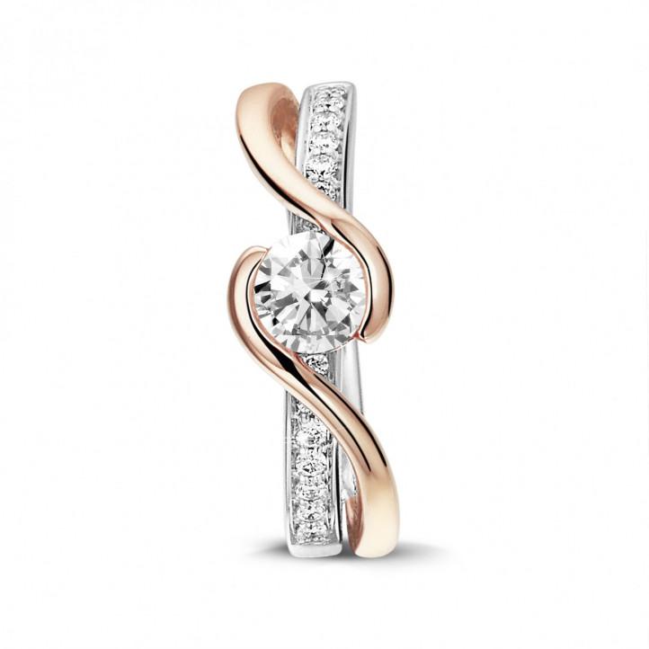 0.50 quilates anillo solitario de diamantes en oro blanco y rojo