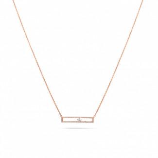 Gargantilla - 0.30 quilates gargantilla en oro rojo con un diamante redondo flotante