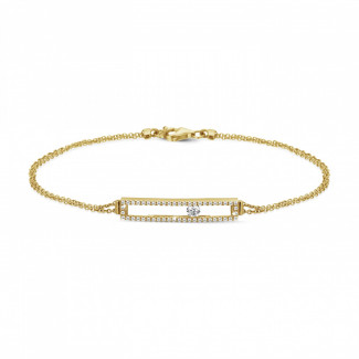 Pulseras - 0.30 quilates pulsera en oro amarillo con un diamante redondo flotante