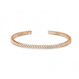 Pulseras - 0.80 quilates pulsera diamante abierta en oro rojo