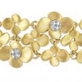 0.75 quilates pulsera diamante diseño flor en oro amarillo