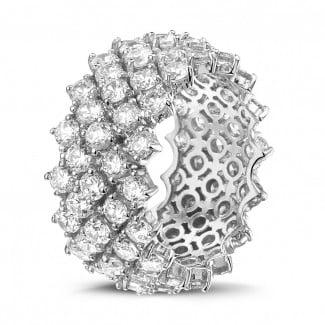 Novedades - Anillo de diamante en oro blanco con diseño de espina de pescado