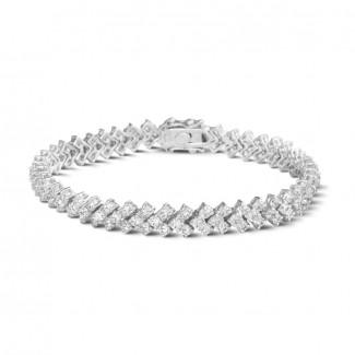 Pulseras - 9.50 quilates pulsera de diamantes en oro blanco con diseño de espina de pescado