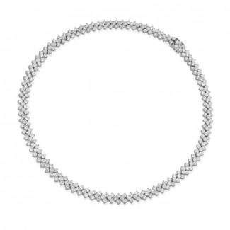 Gargantilla - 19.50 quilates gargantilla de diamantes en oro blanco con diseño de espina de pescado