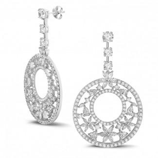 Alta joyería - 11.40 quilates pendientes en oro blanco con diamantes redondos, talla marquesa y forma de pera y de corazón