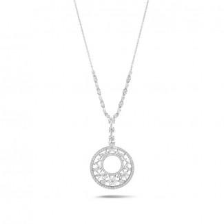 Alta joyería - 7.70 quilates gargantilla en oro blanco con diamantes redondos, talla marquesa y forma de pera y de corazón