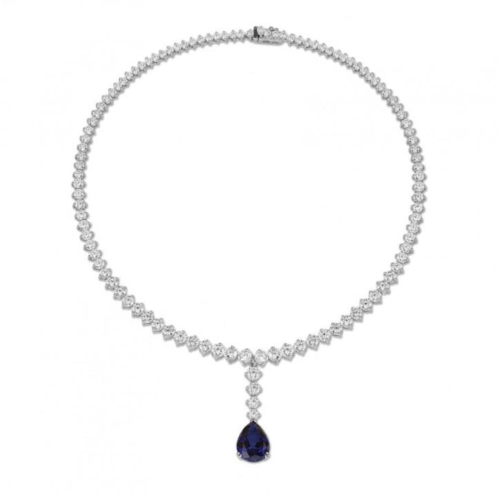 21.30 quilates gargantilla degradé de diamantes en oro blanco con un zafiro en forma de pera