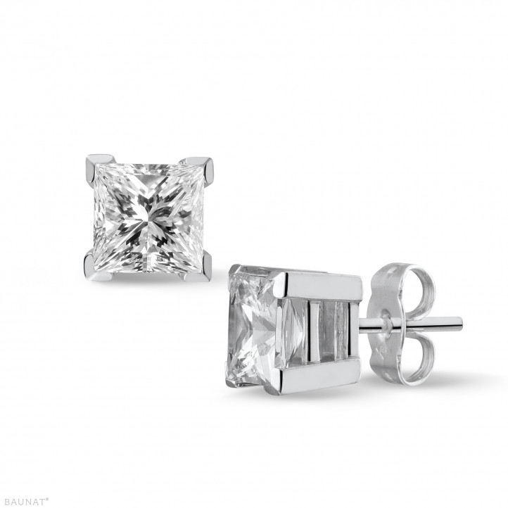 2.00 quilates pendientes en oro blanco con diamantes talla princesa de calidad excepcional (D-IF-EX)