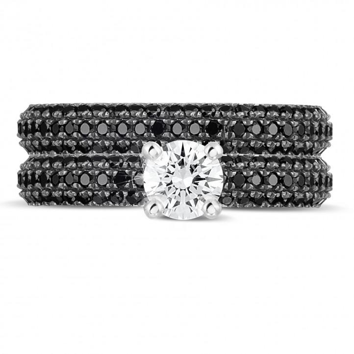 0.50 quilates anillos pareja de compromiso y boda de oro blanco con diamantes negros