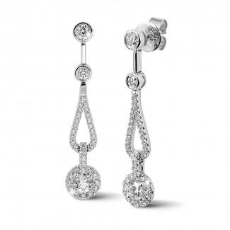 Aretes oro - 1.20 quilates pendientes diamantes en oro blanco