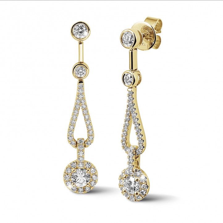 1.20 quilates pendientes diamantes en oro amarillo