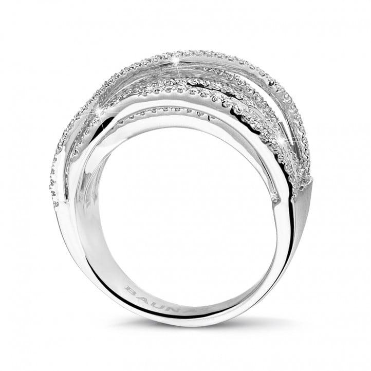 1.90 quilates anillo en oro blanco con diamantes redondos y de talla princesa