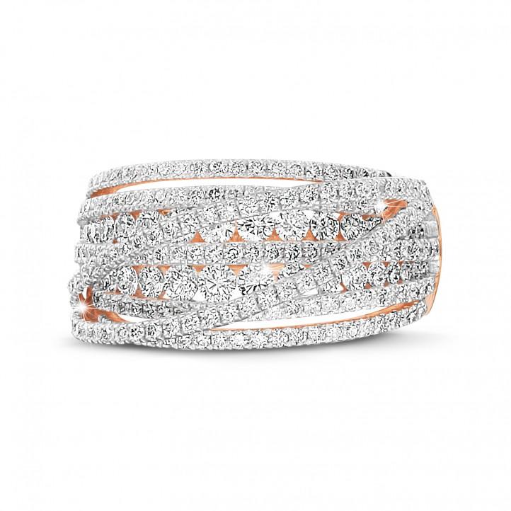 1.50 quilates anillo en oro rojo con diamantes redondos