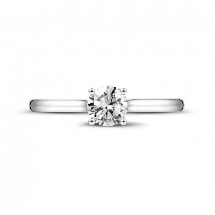 0.50 quilates anillo solitario en oro blanco con un diamante redondo y 4 uñas