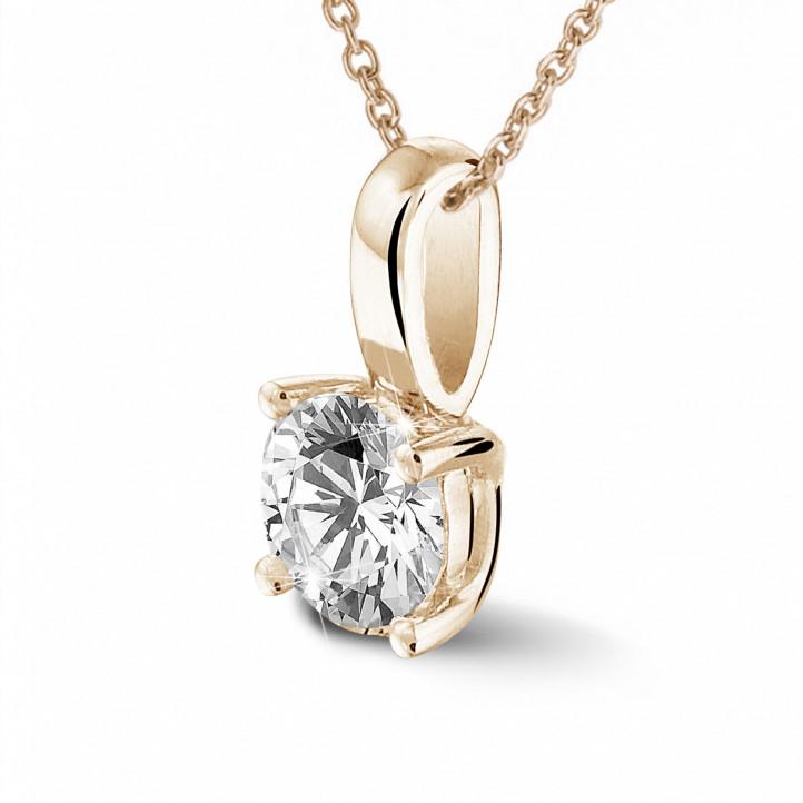 0.50 quilates colgante solitario en oro rojo con diamante redondo y 4 uñas